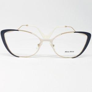 799d0fb59384 Miu Miu Rx Eyeglasses Cat ivory blue   pale gold